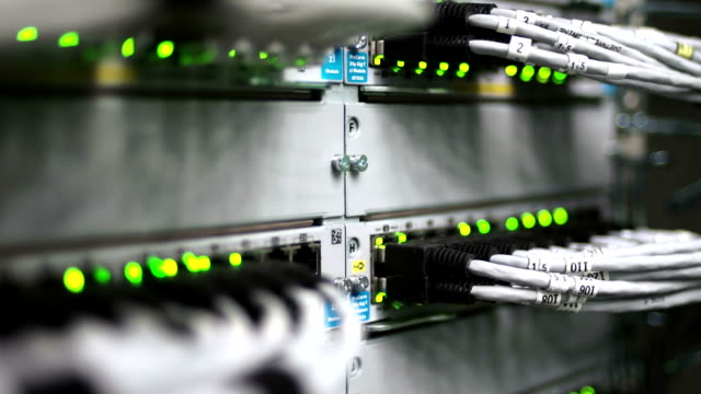 HUB Cable Network With Flashing Lights Close-up video