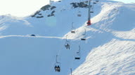 Cable way moving people to and from skiing run video