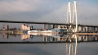 cable-stayed bridge reflected in the river video