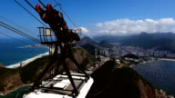 cableway coming up hill with view of Rio de Janeiro video