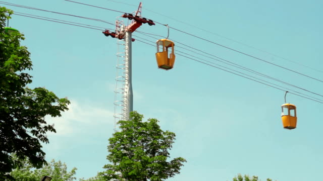 cableway in summer park on the sky video
