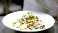 Caesar salad on a plate video