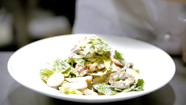 Caesar salad on a plate video