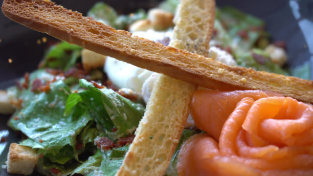 Caesar salmon salad video