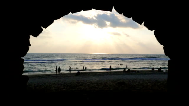 Caesarea aqueduct beach at sunset video