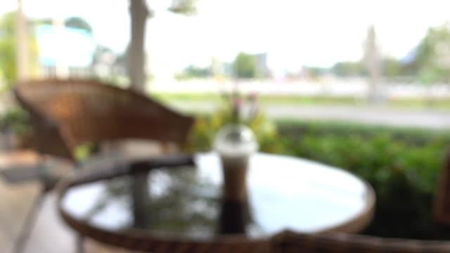 cafe coffee, blur shot video