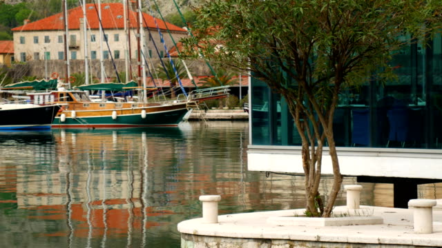 Cafe on the water. Cafe in the Bay of Kotor, Kotor, Montenegro video