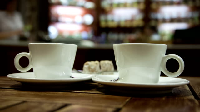 cafeteria - background of two cups of coffee video