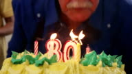 Cake And Senior Man Blowing Candles At Birthday Party video
