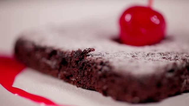 Cake Chocolate With Cherry (Macro) video