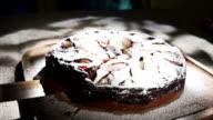 Cake With White Powdered Sugar, Slow Motion video