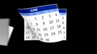 Calendar flying animation with alpha map video