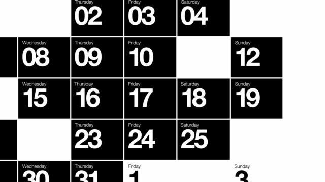 Calendar Month Mono Loop HD video