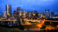Calgary Skyline at Night, Time Lapse video