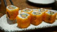 California roll Sushi Japanese food eating, 4K(UHD) video
