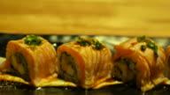 California roll Sushi Japanese food eating video