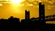 California Sacramento Tower Bridge sunset clouds video