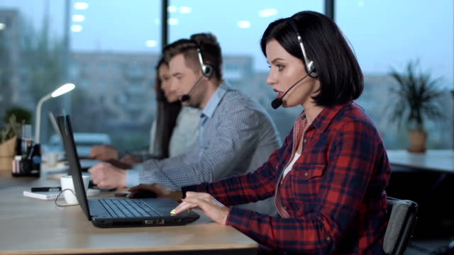 Call center operators at work video