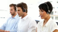 Call center representatives working video