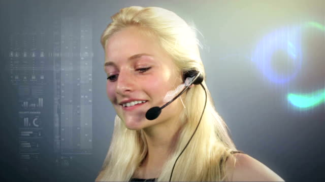 call centre employee on headset talking video