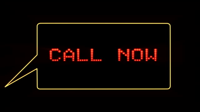 Call Now text in speech bubble video
