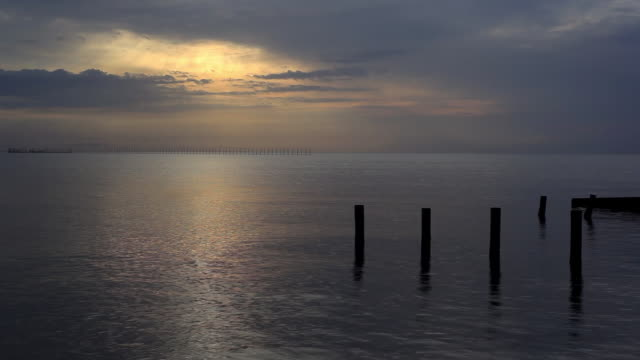 Calm Ocean view with clouds at dawn video