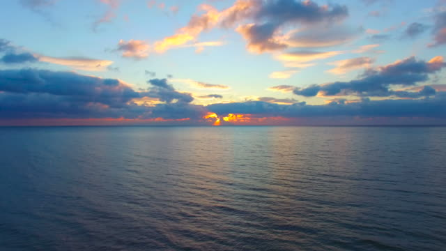 Calm sea in early morning, aerial video video
