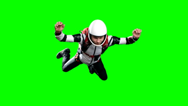 Calm Skydiver in Free Fall Looking at Altimeter video