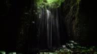 Calm view of a dark cave in the round hole of which falls down, the water which splashes falling on plants, blooming at the bottom video
