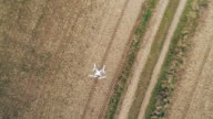 Camera Drone Hovering Over Plowed Field video