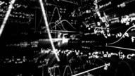 camera flight in maths world seamless loop video
