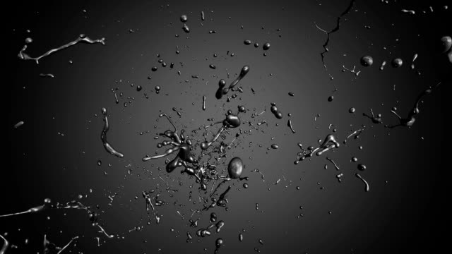 Camera fly through Black Oil Drops. Slow Motion. video