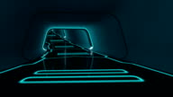 camera fly-through a futuristic tunnel with glowing neon lines video