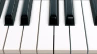 Camera movement over piano keyboard (top view) - Loop video
