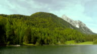 Camera pan over lake in the mountains of alps. video