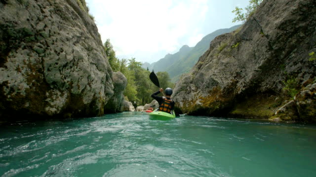 HD: Camera Point Of Kayaking In The Canyon video