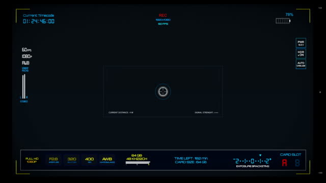 Camera viewfinder. Hi-tech window screen video