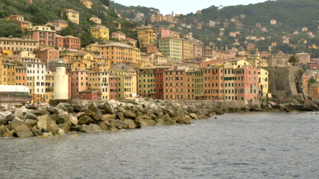 Camogli panorama from boat in sunny day video HD video