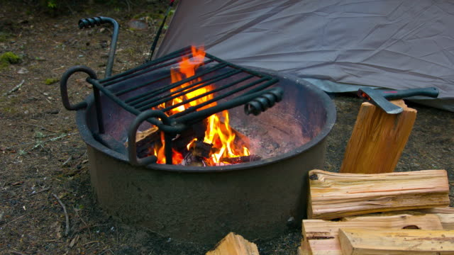 Campfire at Camping Ground in forest video