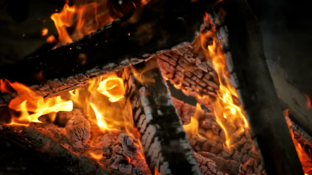 Campfire. Fire. Slow motion. video