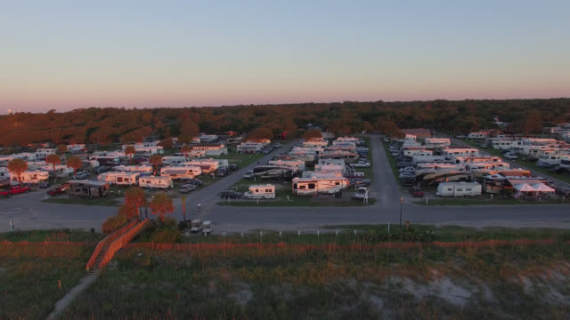 Campground Aerial View By Ocean video