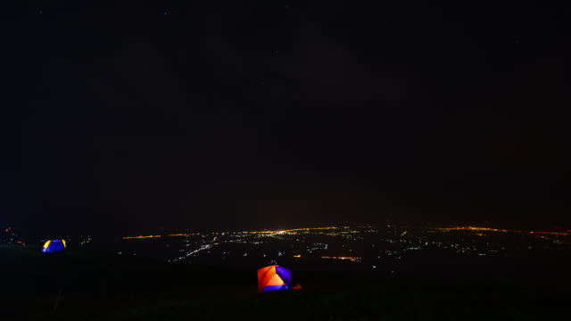 Camping on mountain at night video