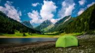 TIME LAPSE: Camping Tent at Mountain Lake video