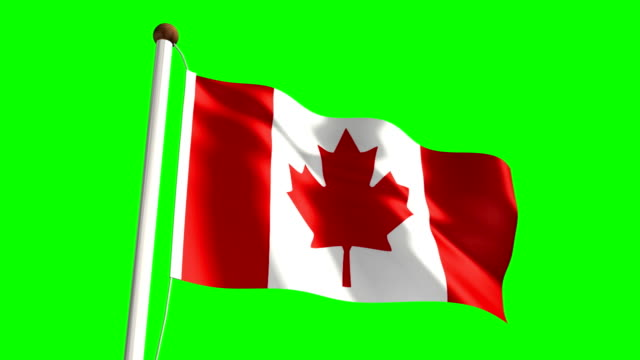 Canada flag (with green screen) video