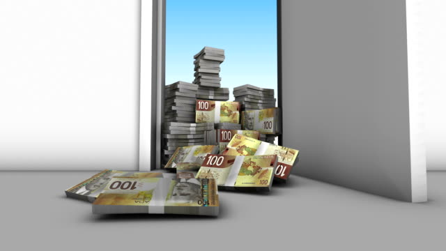 Canadian Dollars Falling by Opening Door video