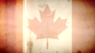 Canadian Flag - Grungy Retro Old Film Loop with Audio video