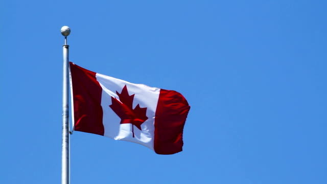Canadian Flag on Blue Sky video