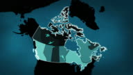 Canadian map with Airports, Roads and Railroads. Blue. video