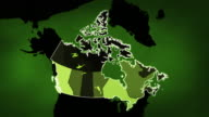 Canadian map with Airports, Roads and Railroads. Green. video
