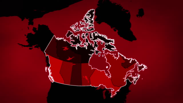 Canadian map with Airports, Roads and Railroads. Red. video